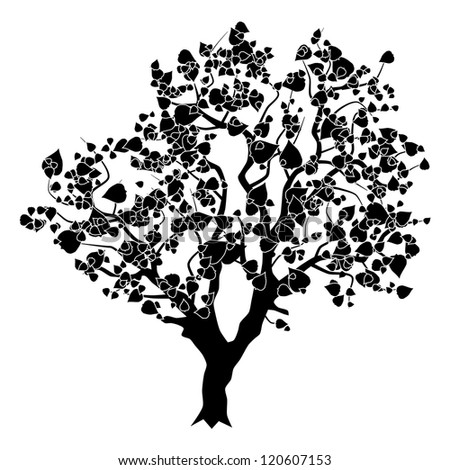 Abstract tree silhouette. Raster version of vector illustration. - stock photo