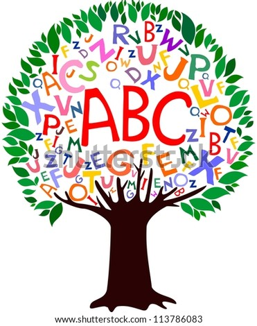 Abstract tree with colorful letters isolated on White background.  illustration - stock photo