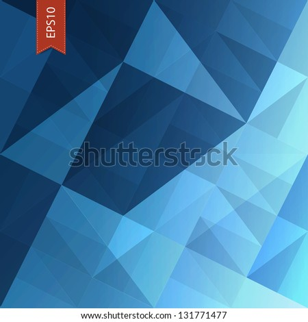Abstract triangles blue background. Raster version, vector file available in my portfolio. - stock photo