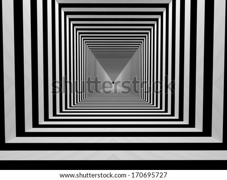 Abstract tunnel with black and white stripes - stock photo