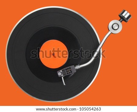 Abstract turntable part isolated on orange - stock photo