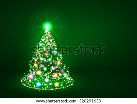 Abstract Twinkling Bright Colourful Fir Tree on Dark Green Background - Christmas Greeting Card Template - Xmas, Holiday Season, X-Mas - stock photo