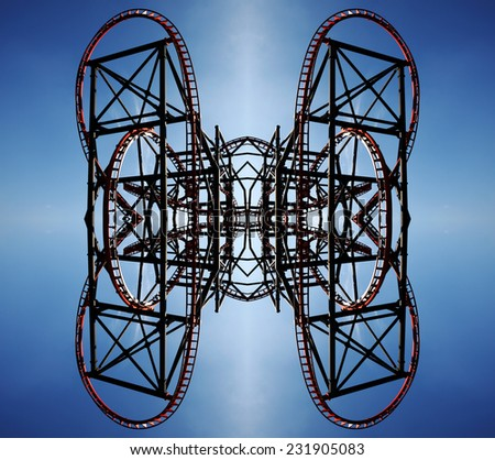 Abstract twisty metal tube fractal pattern. - stock photo