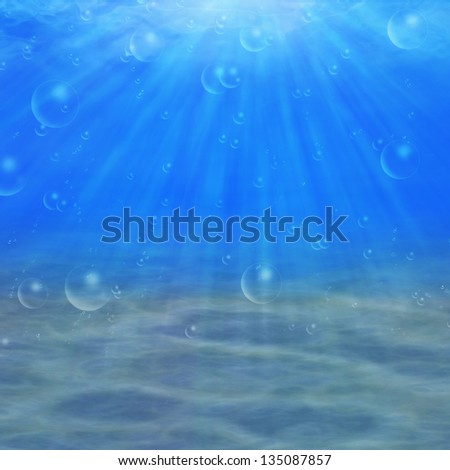 Abstract underwater background with sandy bottom and sun rays. - stock photo