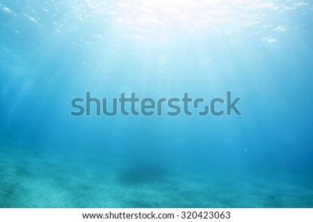 Abstract underwater scene of Lembongan, Nusa Lembongan Island, Bali, Indonesia. - stock photo