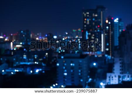 Abstract urban night light bokeh , defocused background - stock photo