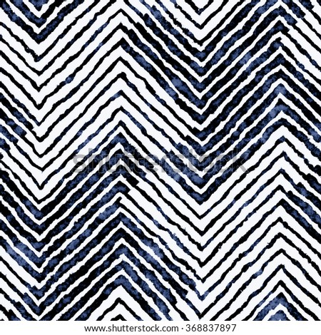 Abstract variegated striped bold houndstooth motif distressed background. Seamless pattern. - stock photo
