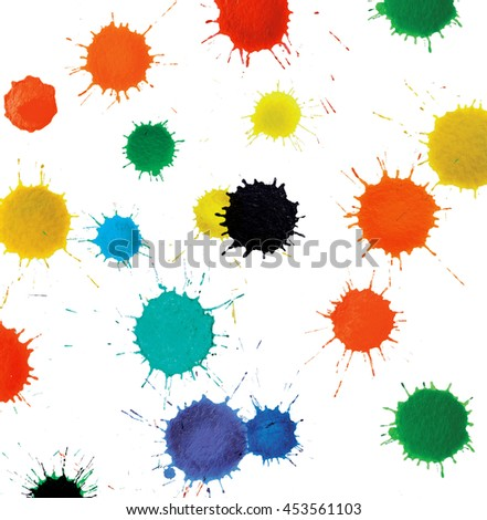 abstract various colorful paint, drops splashes on white background - stock photo
