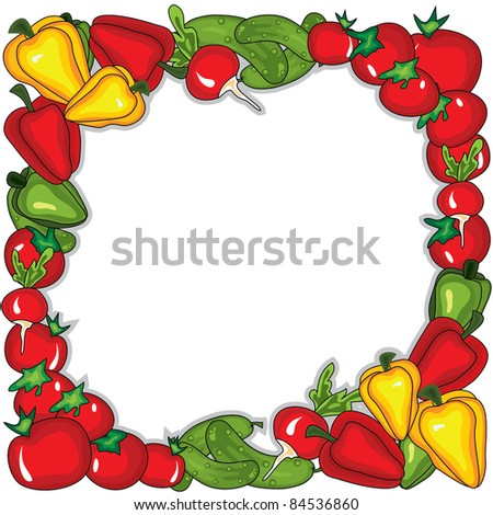 Abstract vegetables  frame.  Place for your text - stock photo