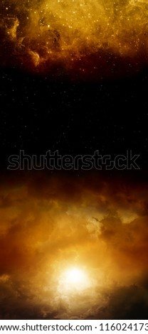 Abstract vertical background - dark red sky with sun and stars. Elements of this image furnished by NASA - stock photo
