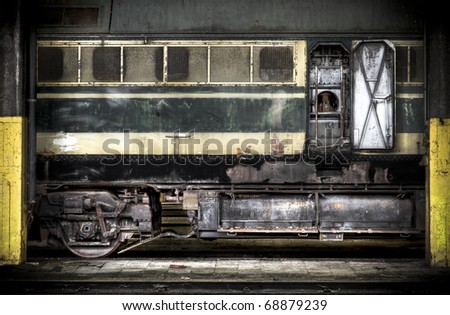 Abstract view at an old diesel locomotive, lots of detail - stock photo
