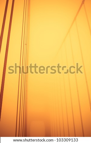Abstract view of Golden Gate Bridge cables - stock photo