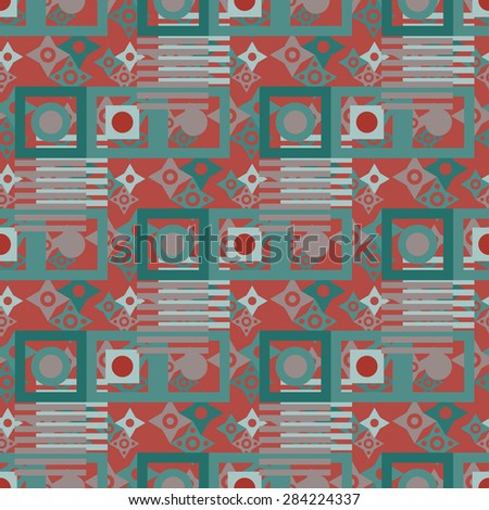 Abstract vintage chaotic seamless pattern. Repeating geometric background texture. Cloth design. Wallpaper, wrapping - stock photo