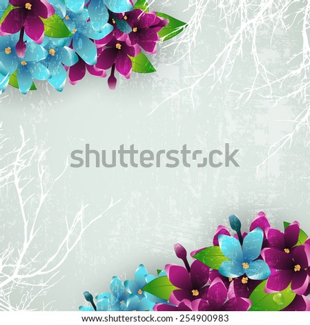 Abstract Vintage Grunge Background With Spring Lilac Flower Frame, Copyspace - stock photo