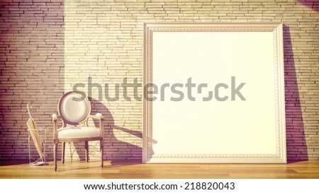 abstract vintage interior with huge art frame with blank canvas - stock photo