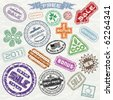 Abstract vintage sale stamp collection - ready for your original design project - stock photo