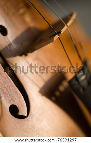 abstract violin shadow close-up - stock photo