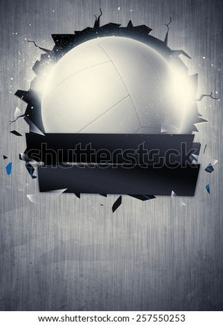 Abstract volleyball sport invitation poster or flyer background with empty space - stock photo