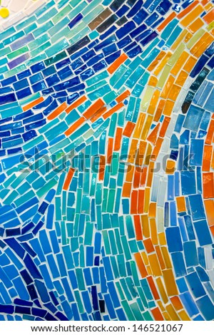 Abstract wall decorated of colorful tile texture. It can be used as background - stock photo