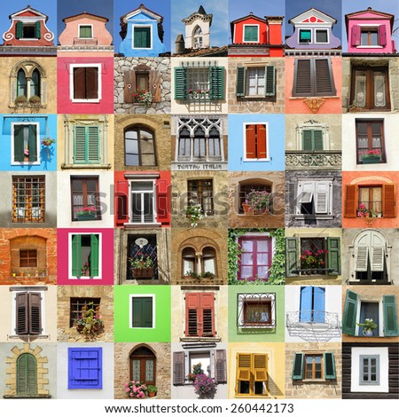 abstract wall made of many colorful  beautiful old windows, Italy, Europe - stock photo