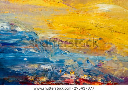 abstract wallpaper, texture, background of an original oil painting on canvas with brush strokes. - stock photo