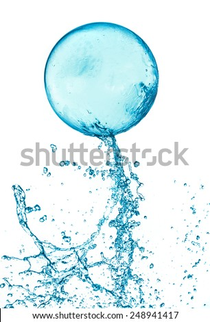 Abstract water ball splash isolated on white background. - stock photo