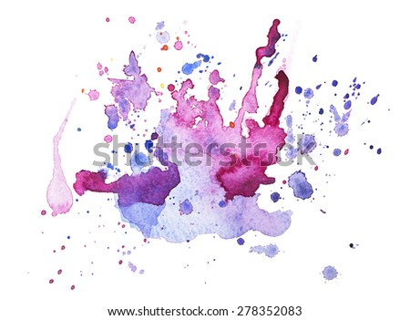 Abstract watercolor aquarelle hand drawn blot colorful paint splatter stain. - stock photo
