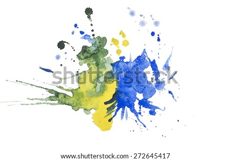 Abstract watercolor aquarelle hand drawn blot colorful yellow orange paint splatter stain. - stock photo