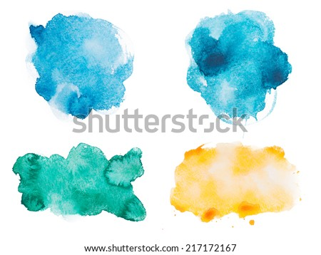 Abstract watercolor aquarelle hand drawn colorful shapes art paint splatter stain on white background - stock photo