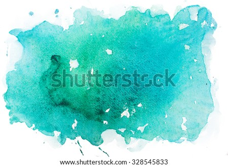 Abstract watercolor aquarelle paint hand drawn colorful splatter stain - stock photo