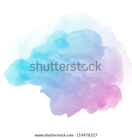 Abstract watercolor art hand paint on white background - stock photo