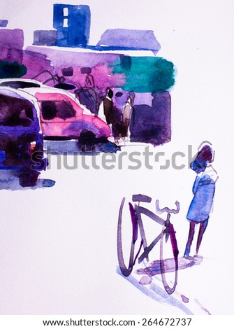Abstract Watercolor background, bike and city traffic - stock photo