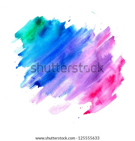 abstract watercolor background, blue purple pink and green color splash isolated on white background with runny blended paint texture design element for brochure ad or website background templates - stock photo