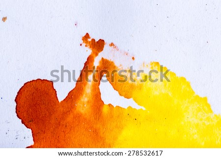 abstract watercolor background paper design of bright color splashes in yellow red warm color and blue orange gold, modern art painted canvas of old faded vintage grunge background texture atmosphere - stock photo