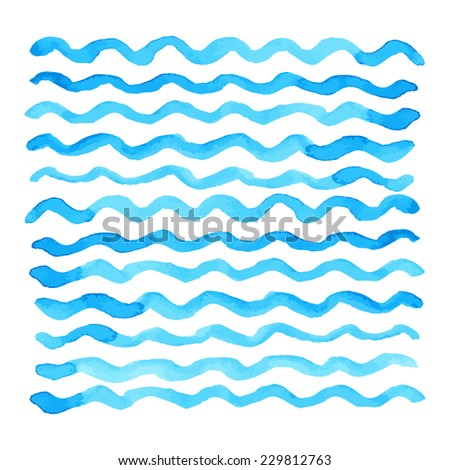 Abstract watercolor blue wave pattern, water texture sketch background. Drawing by hand - stock photo