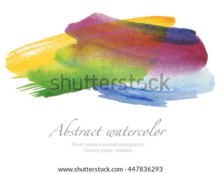 Abstract watercolor brush strokes painted background. Texture paper. isolated. - stock photo