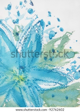 Abstract Watercolor Floral 1 - stock photo