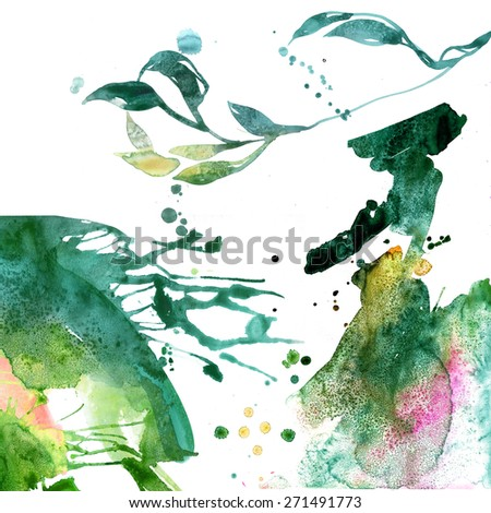 Abstract watercolor hand painted background with floral elements. Textured paper. - stock photo