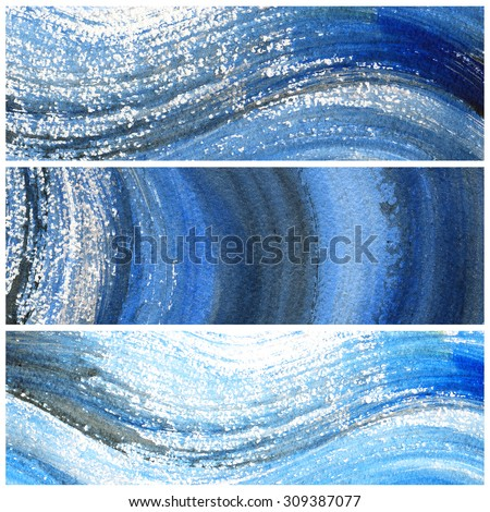 Abstract watercolor hand painted brush strokes. Blue waves banners.Design elements for website or brochure headers or sidebars.Vintage grunge texture. - stock photo