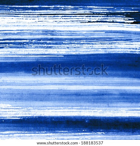 Abstract watercolor hand painted brush strokes, striped background, blue water and waves - stock photo