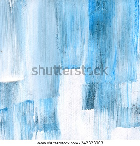 Abstract watercolor hand painted brush strokes. Vertical striped background. Blue and white brush strokes. - stock photo