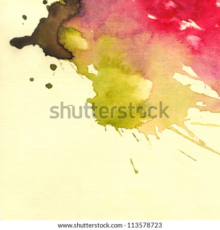 Abstract watercolor nand painted background. Watercolor blot background, raster illustration. - stock photo