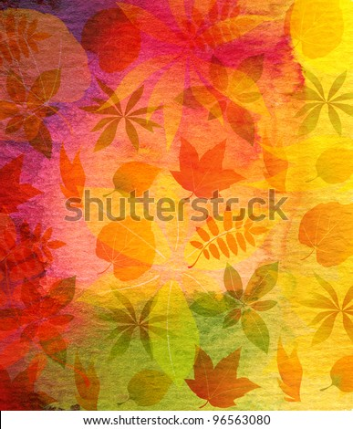 Abstract watercolor painted background with leaf - stock photo