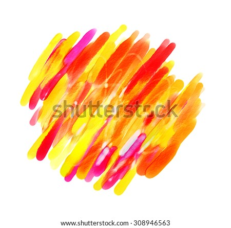 Abstract watercolor painting. Blot. Blurred spot. Blob. Freehand drawing. Conceptual illustration. Isolated on white background - stock photo