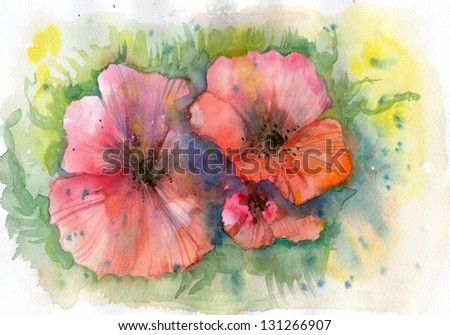 Abstract watercolor poppies and grass. - stock photo