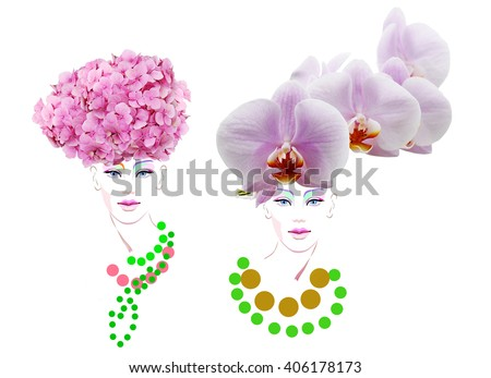 Abstract watercolor portrait of a model (girl), hat decorated orchid, hydrangea, beauty logo, fashion, color rose quartz, lilac, green flash, peach, coral, prints - stock photo