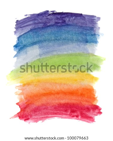 Abstract watercolor rainbow colors background - stock photo
