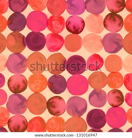 Abstract Watercolored Geometric Circles Seamless Background - stock photo