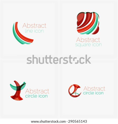 Abstract wave line logo - stock photo