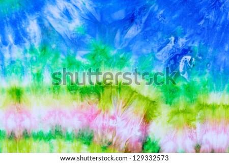 abstract wave pattern on silk nodosa batik - stock photo